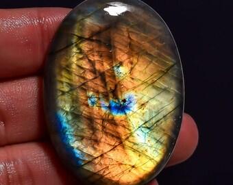 Labradorite Oval Cabochon, Multi Flashy Stone, 47x34x8 MM,Pendent Jewelry, Wt- 102 Ct, Natural Spectrolite Labradorite, Gemstone, AAA+
