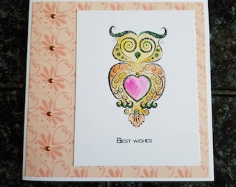 Watercoloured stamped owl birthday card. Handmade greetings card , best wishes