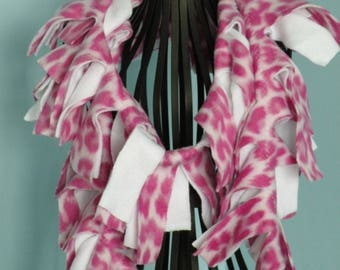 Handmade Pink and White Leopard Animal Print Fleece Boa Scarf