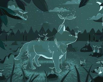 Little Spirit Bears Create a Spirit Wolf Art Print