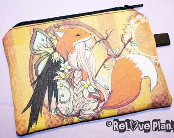 One with Nature - Butterfly Girl Raven Fox - Zippered Pouch - Coin Purse Wallet - Cosmetic bag - Bianca Loran Art