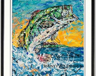 Fish wall art, Fish print, Bass fishing, Fishing wall art, man cave wall art, Fish on hook,  Johno Prascak