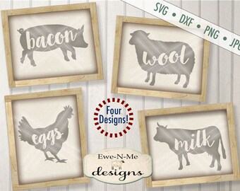 Farm Animals SVG - milk svg - eggs svg - bacon svg - wool svg - farmhouse svg - chicken, pig, cow, sheep,  Commercial Use svg, dxf, png, jpg