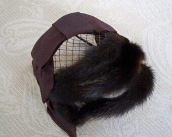 Vintage Accessory Women's Mink Hat Fur Hat 1960 Hat