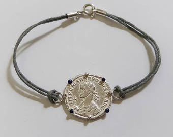 Bracelet Rome coin Silver Enamel Blue