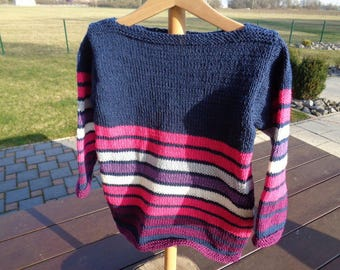 striped boat neck cotton sweater girls 6 years old Navy