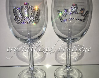 Custom Made Swarovski Element Wine Glass