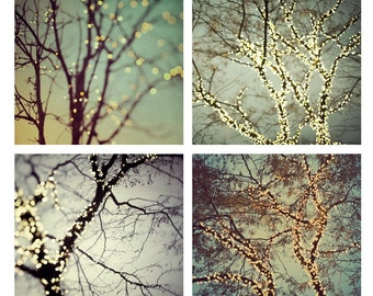 "SALE Tree Prints, Gallery Wall Art, Fine Art Photography, Prints Set, Winter Decor, Tree Art, Fairy Lights on Trees ""Night Lights"""