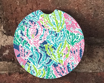 Seaweed car coasters/  Auto Car Coasters (set of2), Absorbent Sandstone Personalized Car Coasters (set of2) Gift Ideas