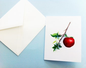 Watercolor Card - Apple