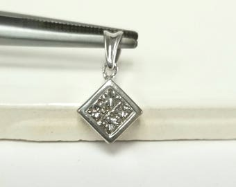 "5/8"" Estate 14k White Gold Diamond .50ct tw Princess Cut Pendant GS1740"