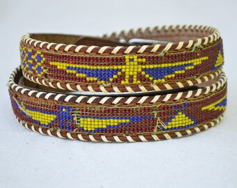 1950's Vintage Souvenir Beaded Belt   Phoenix Pattern   Southwestern Style   Americana   Travel Souvenir