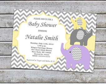 Yellow Baby Shower Invitations Neutral Elephant Baby Shower Invitation Baby Shower Invites (95) / Free Thank You Card / Instant Download