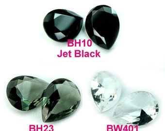 Glass Jewel 18x25mm Tear Drop Pointed Back Unfoiled - Diamond Clear, Black Diamond, Jet Black - Pick your color
