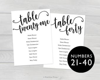 4x6 Printable Wedding Seating Chart Cards Tables 21-40 Template PDF, Instant Download, Editable Hanging Seating Cards Table assignments