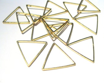 50pcs Raw Brass Triangle Link Rings Connectors 15mm