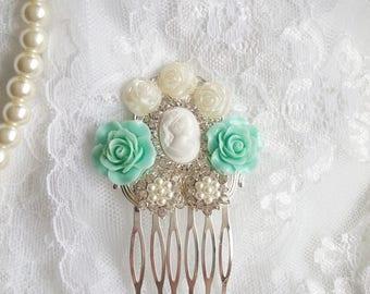 Mint green wedding hair comb, Victorian hair comb, mint flower hair piece, pastel green wedding, Marie Antoinette, green Bridesmaids hair