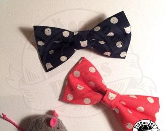 Polka Dot Cat // Hair Bow // clip on Bow Tie // Cat Fabric