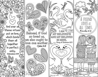 8 Printable Coloring Bookmarks with Love Bible Verses; Love Bible Coloring Bookmarks; Digital Download
