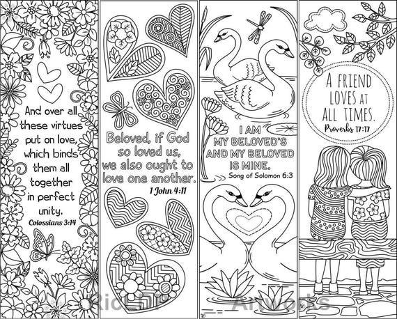 8 druckbare Färbung Lesezeichen mit Liebe Bibelverse Liebe