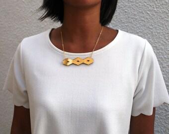 Gold Geometric Horizontal Mini Bloc Necklace