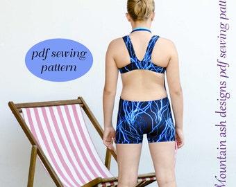 Swimsuit Pattern Leisel pdf sewing pattern in girls sizes 2-14 racer back swimsuit