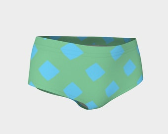 Green and Blue Lattice Bikini Shorts