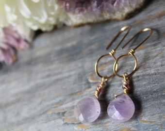 Amethyst Gemstone and Hammered 14k Gold Filled Dangle Earrings, Artisan Handmade Jewelry, Earrings, Hippy Do Da, Gemstone Jewelry , Amethyst