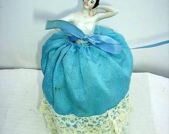 Antique German Half Doll Pincushion/ Arms Away/ Porcelain Half Doll