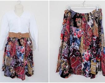 Plus Size Vintage Handmade Mixed Print Patchwork Skirt