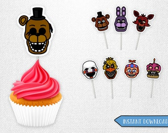 Five Nights at Freddy's cupcake toppers, Five Nights at Freddy's cupcake, Five Nights at Freddy's centerpieces!