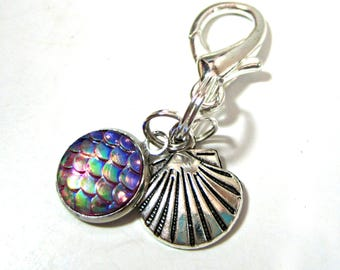Mermaid Scales Charm - Seashell Planner Charm - Traveler's Notebook Charm - Planner Accessory - Purse Charm - Planner Charm - Zipper Pull
