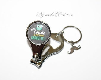 "Keychain ""cousin too cool"" cut nail bottle opener"