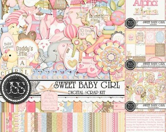 On Sale 50% Sweet Baby Girl Digital Scrapbook Kit Collection or Bundle for Digital Scrapbooking and Paper Crafting