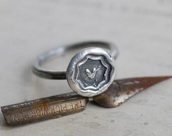 heart wax seal ring - sweetheart pierced heart ring - sterling silver antique wax seal jewelry