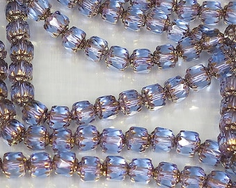 6 mm Amethyst Glass Cathedral Beads - 50 for 8.00 - Bin #21