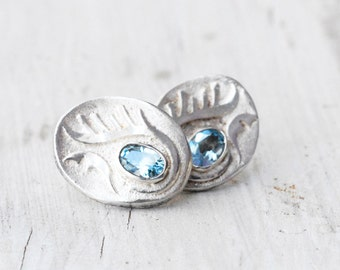 Blue Topaz Gemstone Earrings, Sterling Silver Blue Stone Statement Stud Earrings, November Birthstone Earrings, Blue Topaz Jewelry Gift