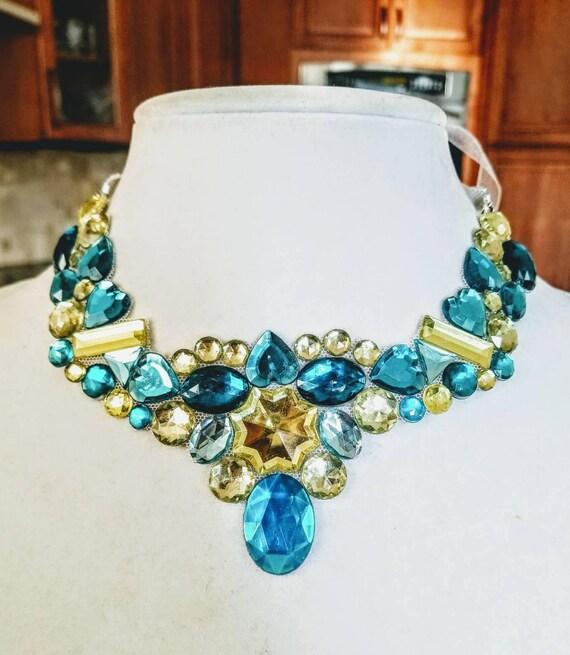 Cornflower Sunshine- rhinestone bling necklace, illusion necklace, rhinestone bib, floating necklace, rhinestone statement necklace