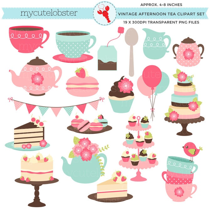 Afternoon Tea Clipart Set clip art set vintage tea party