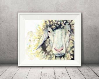 Sheep Art - Watercolor Sheep Print -  Modern Farmhouse Decor - Farm Animal Decor - Vegan Gift - Animal Wall Decor - Animal Art - Vegan Art
