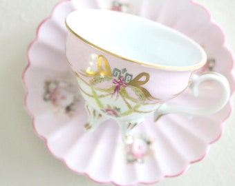 FOOTED CUP, Vintage, Porcelain Espresso or Demitasse Cup with Saucer, Little Princess Birthday Tea Party Inspiration