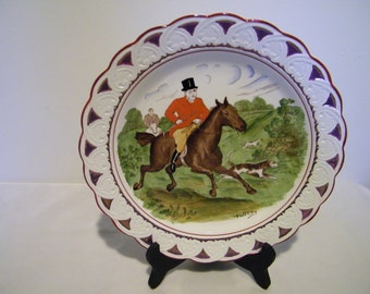 Antique Wedgwood England Horse Fox Hunt Equestrian Lustre Plate Full Cry