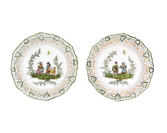 Two French Faience Moustiers-Sainte-Marie Pottery Plates
