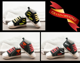 Baby Shoes in black, Batman and superman sneakers, Personalized Baby Gift, Baby boy shoe, Crib Shoes, Personalized Shoes, Baby Gifts