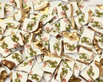 80 Limoges Floral Goldrändern Hand geschnitten Vintage Porzellan Fliesen / / Schale gebrochen / / Mosaik-Zubehör / / Mosaik Stück / / Handwerk Schmuck