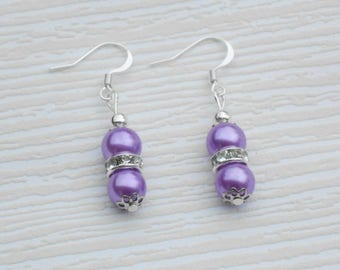 Purple pearl earrings, wedding accessories, Small gift, Bridal jewelry party, Romantic gift for birthday, valentines, Rondelle beads