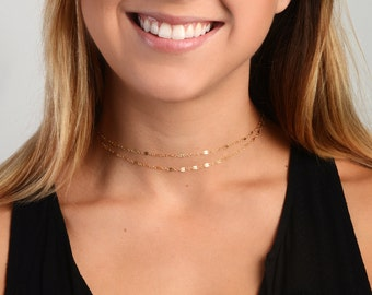 Dainty Chain Choker, Simple Gold Choker, Dainty Jewelry, Layering Necklace, Wrap Choker Necklace, Minimalist Jewelry, Delicate Gold Choker,