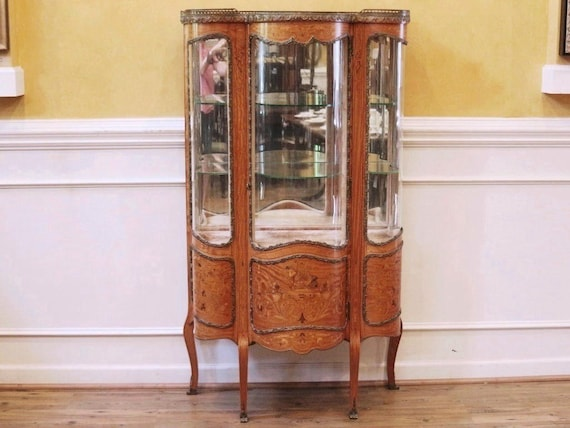 - Antique French Vitrine Curio China Cabinet Inlaid