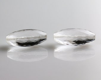 Quartz Crystal Beads - 20mm - Quartz Beads - Dholki Shape Pair