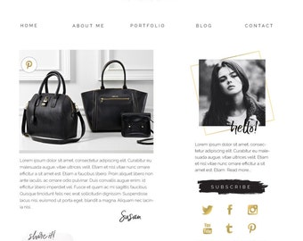 Blog Kit Graphics, Website Kit Design, Social Media Icons, Blog Header Design, Website Header Design, Premade Logo Design, Black, Gold